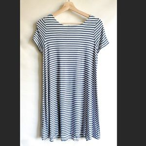 LOFT Striped Shortsleeved Dress with Tie Back